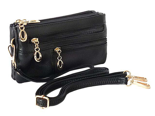 A-SHU ORDER BY REQUEST - SMALL MULTI-COMPARTMENT CROSS-BODY PURSE BAG WITH WRIST AND LONG STRAPS - BLACK - A-SHU.CO.UK