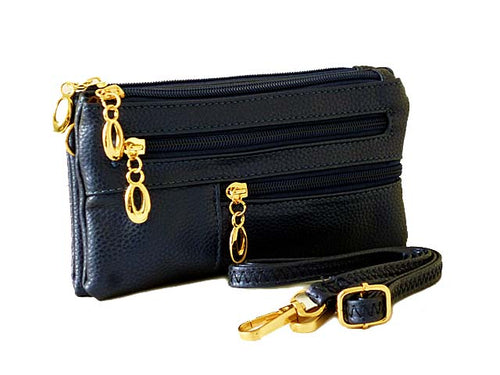 SMALL MULTI-COMPARTMENT CROSS-BODY PURSE BAG WITH WRIST AND LONG STRAPS - BLUE METALLIC