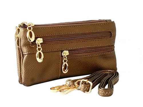 SMALL MULTI-COMPARTMENT CROSS-BODY PURSE BAG WITH WRIST AND LONG STRAPS - BRONZE METALLIC