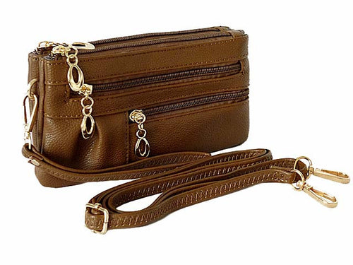 SMALL MULTI-COMPARTMENT CROSS-BODY PURSE BAG WITH WRIST AND LONG STRAPS - BROWN