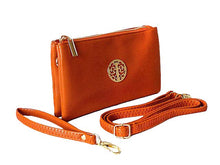 A-SHU SMALL MULTI-COMPARTMENT CROSS-BODY PURSE BAG WITH WRIST AND LONG STRAPS - ORANGE - A-SHU.CO.UK