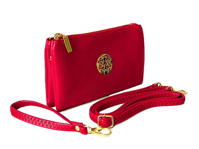 SMALL MULTI-COMPARTMENT CROSS-BODY PURSE BAG WITH WRIST AND LONG STRAPS - FUSHCIA PINK