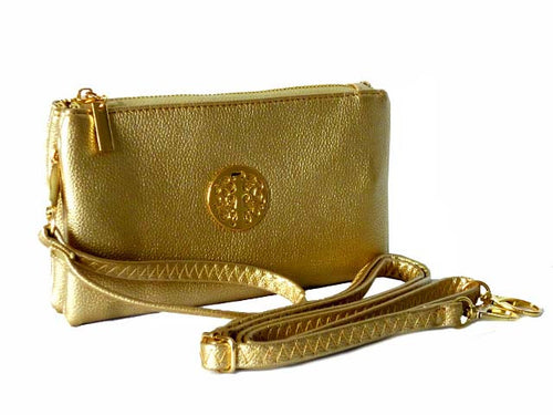 A-SHU SMALL MULTI-COMPARTMENT CROSS-BODY PURSE BAG WITH WRIST AND LONG STRAPS - GOLD - A-SHU.CO.UK