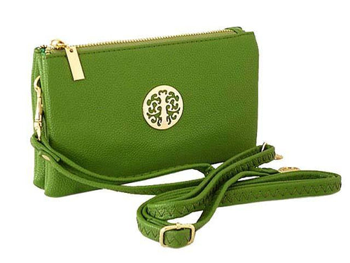A-SHU SMALL MULTI-COMPARTMENT CROSS-BODY PURSE BAG WITH WRIST AND LONG STRAPS - GREEN - A-SHU.CO.UK