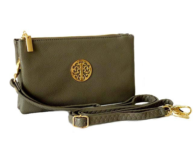 A-SHU SMALL MULTI-COMPARTMENT CROSS-BODY PURSE BAG WITH WRIST AND LONG STRAPS - GREY - A-SHU.CO.UK