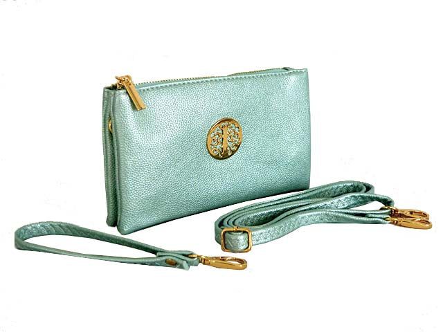 A-SHU SMALL MULTI-COMPARTMENT CROSS-BODY PURSE BAG WITH WRIST AND LONG STRAPS - METALLIC BLUE - A-SHU.CO.UK
