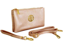 A-SHU SMALL MULTI-COMPARTMENT CROSS-BODY PURSE BAG WITH WRIST AND LONG STRAPS - METALLIC PINK - A-SHU.CO.UK