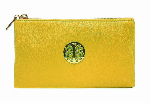 SMALL MULTI-COMPARTMENT CROSS-BODY PURSE BAG WITH WRIST AND LONG STRAPS - MUSTARD YELLOW