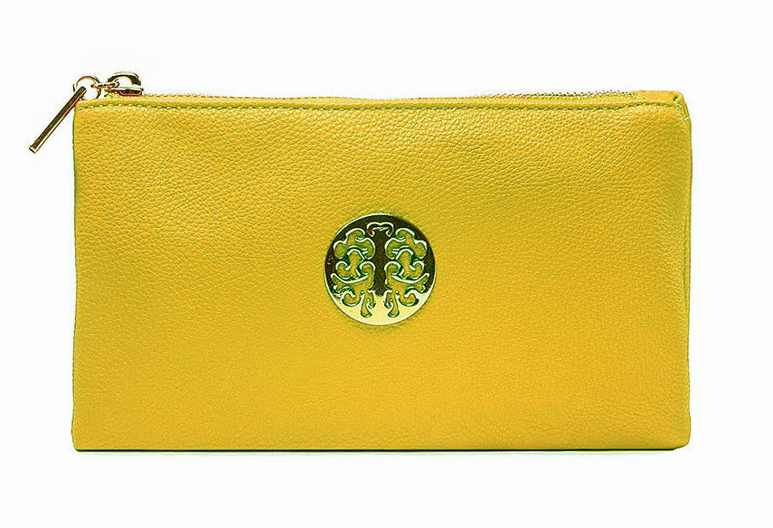 SMALL MULTI-POCKET CROSSBODY PURSE BAG WITH WRISTLET AND LONG STRAP - MUSTARD YELLOW