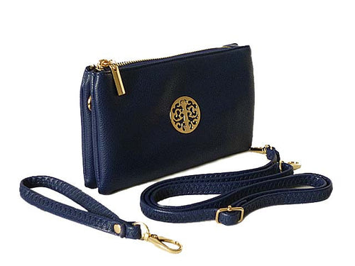 A-SHU SMALL MULTI-COMPARTMENT CROSS-BODY PURSE BAG WITH WRIST AND LONG STRAPS - NAVY - A-SHU.CO.UK