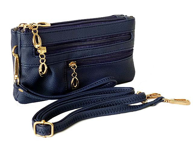 A-SHU ORDER BY REQUEST - SMALL MULTI-COMPARTMENT CROSS-BODY PURSE BAG WITH WRIST AND LONG STRAPS - NAVY BLUE - A-SHU.CO.UK