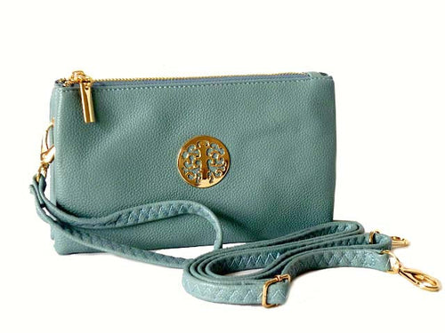 A-SHU SMALL MULTI-COMPARTMENT CROSS-BODY PURSE BAG WITH WRIST AND LONG STRAPS - PASTEL BLUE - A-SHU.CO.UK