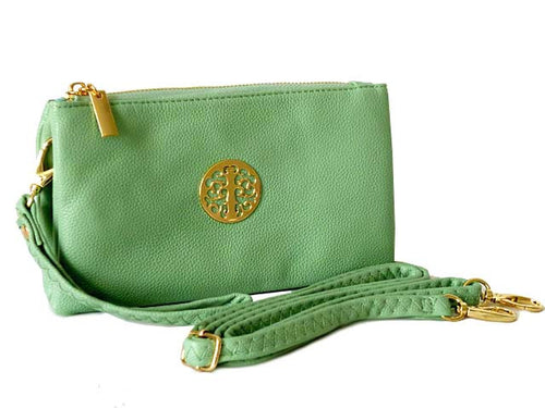 A-SHU SMALL MULTI-COMPARTMENT CROSS-BODY PURSE BAG WITH WRIST AND LONG STRAPS - PASTEL GREEN - A-SHU.CO.UK