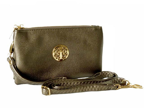 A-SHU SMALL MULTI-COMPARTMENT CROSS-BODY PURSE BAG WITH WRIST AND LONG STRAPS - PEWTER - A-SHU.CO.UK