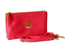SMALL MULTI-COMPARTMENT CROSS-BODY PURSE BAG WITH WRIST AND LONG STRAPS - PINK