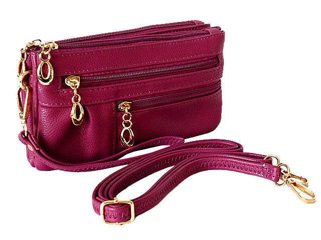 A-SHU ORDER BY REQUEST - SMALL MULTI-COMPARTMENT CROSS-BODY PURSE BAG WITH WRIST AND LONG STRAPS - PURPLE - A-SHU.CO.UK