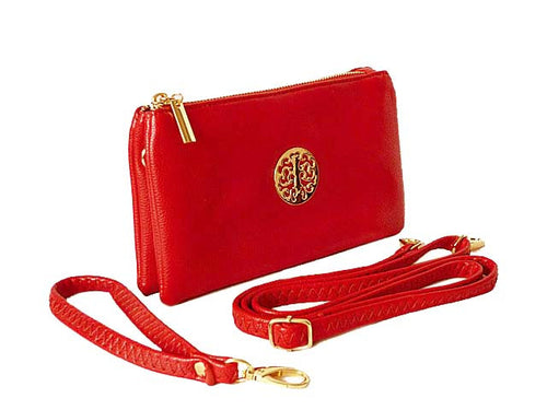 A-SHU SMALL MULTI-COMPARTMENT CROSS-BODY PURSE BAG WITH WRIST AND LONG STRAPS - RED - A-SHU.CO.UK
