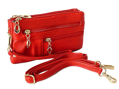 A-SHU ORDER BY REQUEST - SMALL MULTI-COMPARTMENT CROSS-BODY PURSE BAG WITH WRIST AND LONG STRAPS - RED - A-SHU.CO.UK