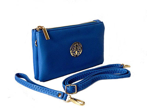 A-SHU SMALL MULTI-COMPARTMENT CROSS-BODY PURSE BAG WITH WRIST AND LONG STRAPS - ROYAL BLUE - A-SHU.CO.UK