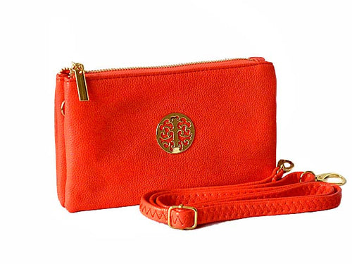 A-SHU SMALL MULTI-COMPARTMENT CROSS-BODY PURSE BAG WITH WRIST AND LONG STRAPS - SALMON - A-SHU.CO.UK