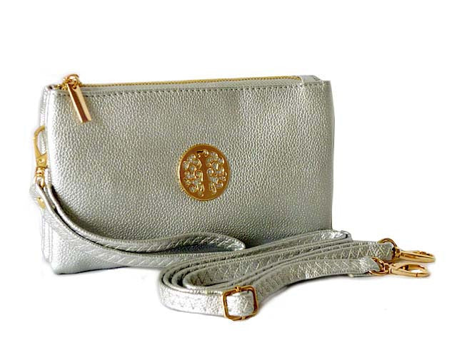 A-SHU SMALL MULTI-COMPARTMENT CROSS-BODY PURSE BAG WITH WRIST AND LONG STRAPS - SILVER - A-SHU.CO.UK