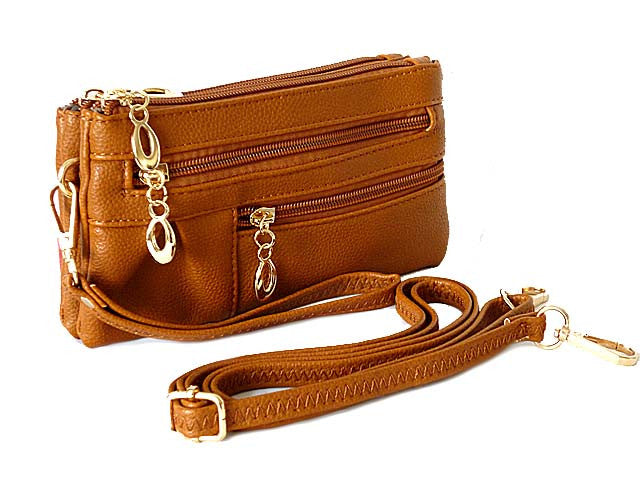SMALL MULTI-COMPARTMENT CROSS-BODY PURSE BAG WITH WRIST AND LONG STRAPS - TAN
