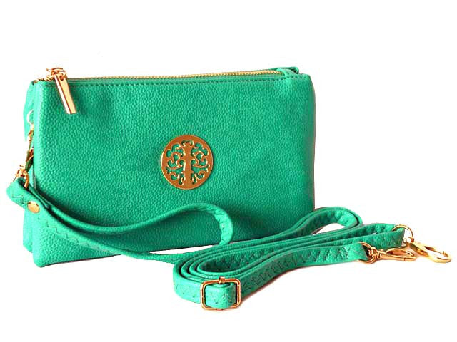 A-SHU SMALL MULTI-COMPARTMENT CROSS-BODY PURSE BAG WITH WRIST AND LONG STRAPS - TURQUOISE - A-SHU.CO.UK