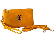 SMALL MULTI-COMPARTMENT CROSS-BODY PURSE BAG WITH WRIST AND LONG STRAPS - YELLOW