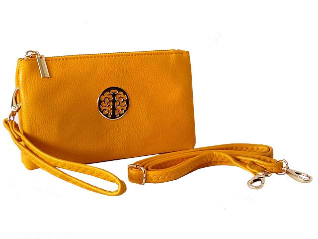A-SHU SMALL MULTI-COMPARTMENT CROSS-BODY PURSE BAG WITH WRIST AND LONG STRAPS - YELLOW - A-SHU.CO.UK