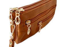 A-SHU SMALL MULTI-COMPARTMENT CROSS-BODY PURSE BAG WITH WRIST AND LONG STRAPS - TAN - A-SHU.CO.UK