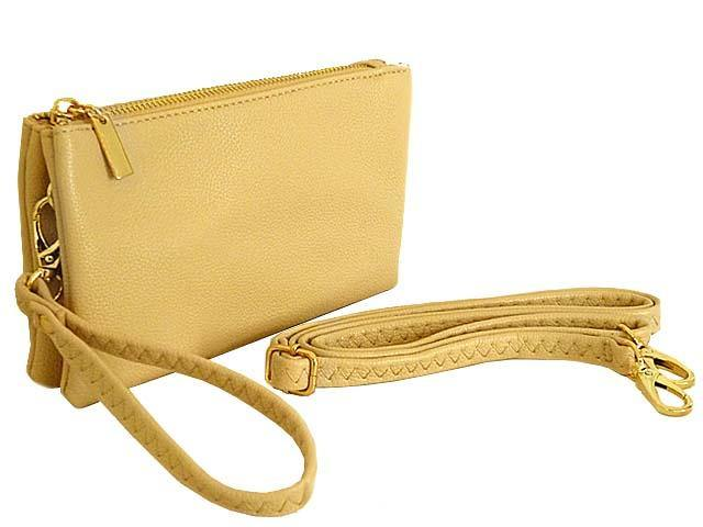 SMALL MULTI-POCKET CROSSBODY PURSE BAG WITH WRIST AND LONG STRAPS - BEIGE