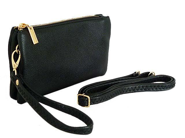 SMALL MULTI-POCKET CROSSBODY PURSE BAG WITH WRIST AND LONG STRAPS - BLACK
