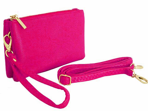 SMALL MULTI-POCKET CROSSBODY PURSE BAG WITH WRIST AND LONG STRAPS - FUSCHIA PINK