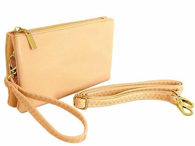 SMALL MULTI-POCKET CROSSBODY PURSE BAG WITH WRIST AND LONG STRAPS - LIGHT PINK