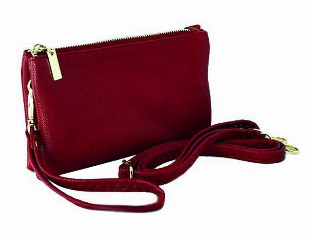 SMALL MULTI-POCKET CROSSBODY PURSE BAG WITH WRIST AND LONG STRAPS - MAROON