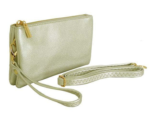 SMALL MULTI-POCKET CROSSBODY PURSE BAG WITH WRIST AND LONG STRAPS - METALLIC SILVER