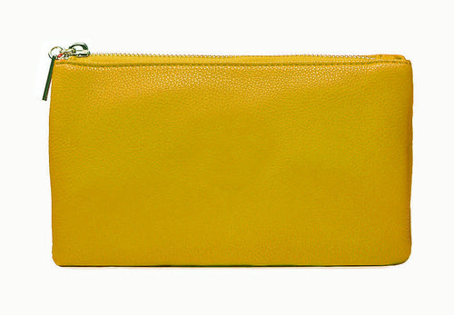 SMALL MULTI-POCKET CROSSBODY PURSE BAG WITH WRIST AND LONG STRAPS - MUSTARD YELLOW