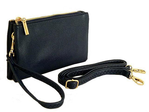 SMALL MULTI-POCKET CROSSBODY PURSE BAG WITH WRIST AND LONG STRAPS - NAVY BLUE