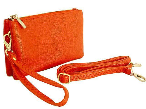 SMALL MULTI-POCKET CROSSBODY PURSE BAG WITH WRIST AND LONG STRAPS - ORANGE