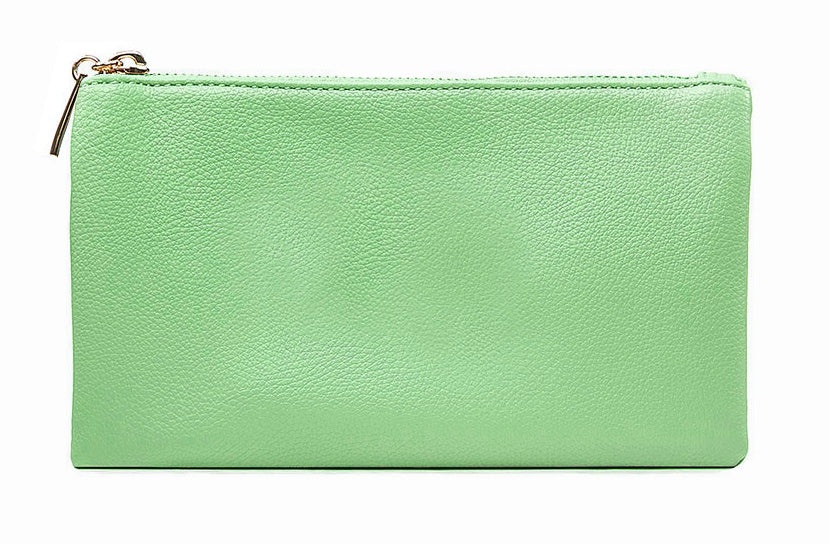 A-SHU SMALL MULTI-POCKET CROSSBODY PURSE BAG WITH WRISTLET AND LONG STRAP - PASTEL GREEN - A-SHU.CO.UK