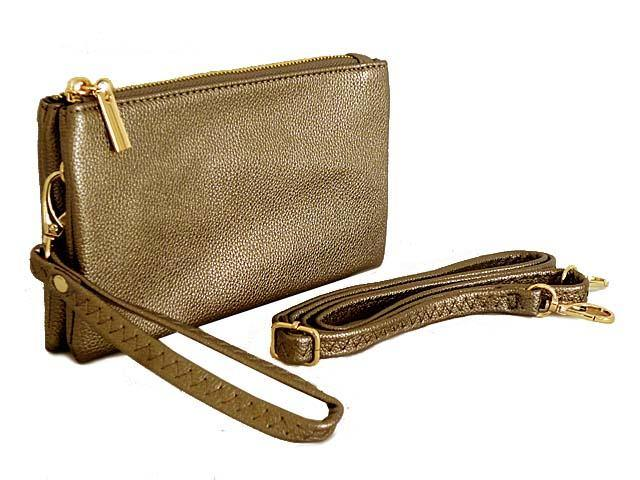 A-SHU SMALL MULTI-POCKET CROSSBODY PURSE BAG WITH WRIST AND LONG STRAPS - PEWTER - A-SHU.CO.UK