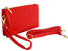A-SHU SMALL MULTI-POCKET CROSSBODY PURSE BAG WITH WRIST AND LONG STRAPS - RED - A-SHU.CO.UK