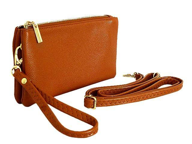 SMALL MULTI-POCKET CROSSBODY PURSE BAG WITH WRIST AND LONG STRAPS - TAN