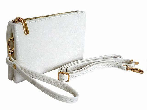 SMALL MULTI-POCKET CROSSBODY PURSE BAG WITH WRIST AND LONG STRAPS - WHITE