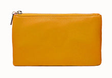 A-SHU SMALL MULTI-POCKET CROSSBODY PURSE BAG WITH WRISTLET AND LONG STRAP - MUSTARD YELLOW - A-SHU.CO.UK