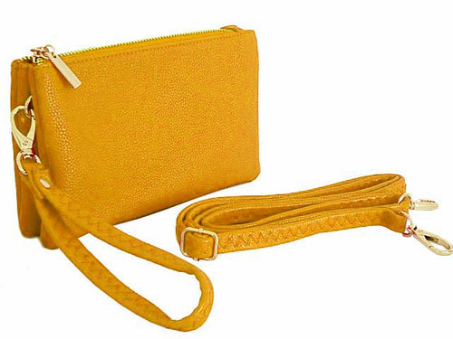 SMALL MULTI-POCKET CROSSBODY PURSE BAG WITH WRIST AND LONG STRAPS - YELLOW