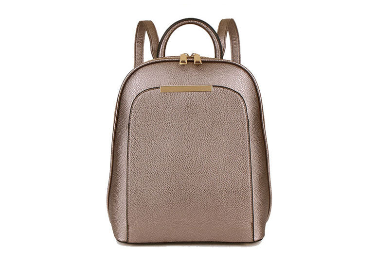 A-SHU SMALL MULTI COMPARTMENT CROSS BODY BACKPACK WITH TOP HANDLE - METALLIC PEWTER - A-SHU.CO.UK