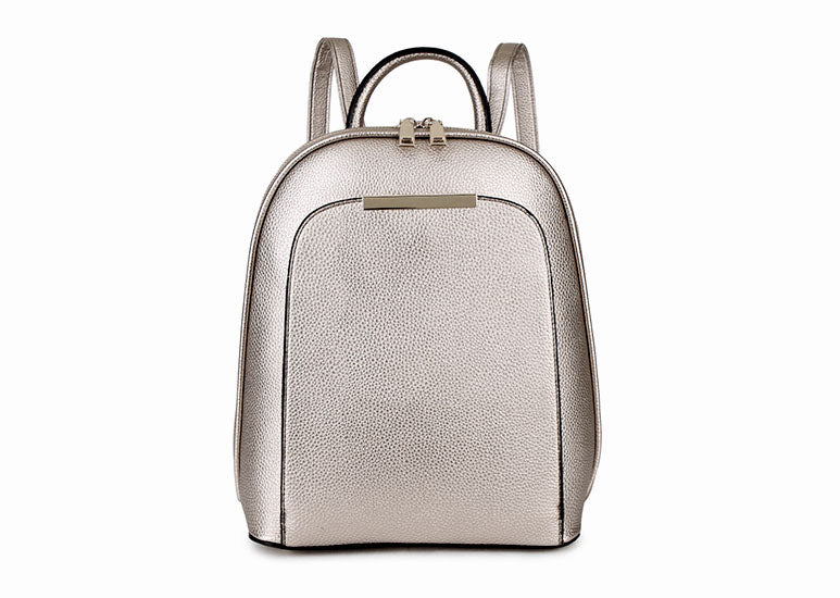 A-SHU SMALL MULTI COMPARTMENT CROSS BODY BACKPACK WITH TOP HANDLE - METALLIC SILVER - A-SHU.CO.UK
