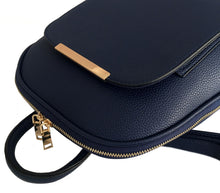 A-SHU SMALL MULTI COMPARTMENT CROSS BODY BACKPACK WITH TOP HANDLE - NAVY BLUE - A-SHU.CO.UK