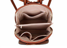 A-SHU SMALL MULTI COMPARTMENT CROSS BODY BACKPACK WITH TOP HANDLE - TAN - A-SHU.CO.UK